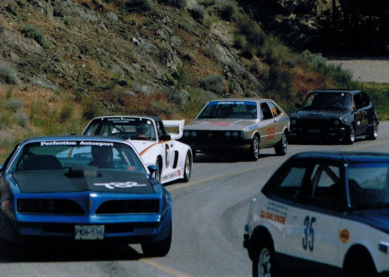 Returning from the summit of the Knox Mtn Hillclimb course, May 1989
